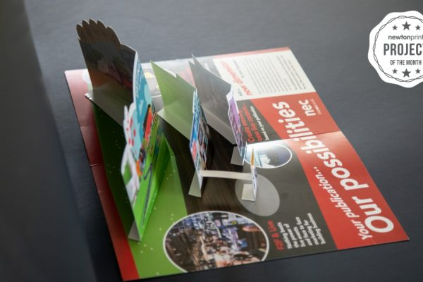 NEC Exhibition 3D Pop up printed leaflet