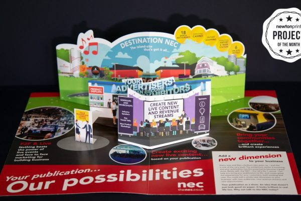 NEC Exhibition Pop up 3D printed leaflet