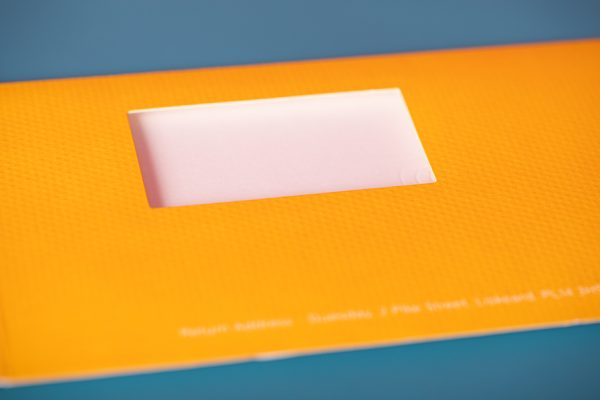 Duesday POTM die-cut direct mailer with embossed printing