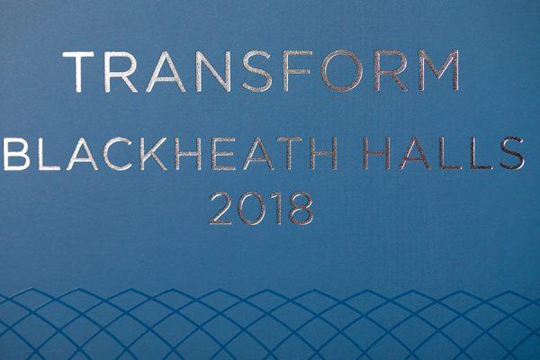 Blackheath Halls foil print brochure