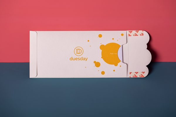 Duesday POTM embossed die-cut direct mail