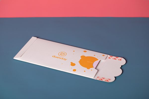 Duesday POTM die-cut embossed direct mail wallet sleeve