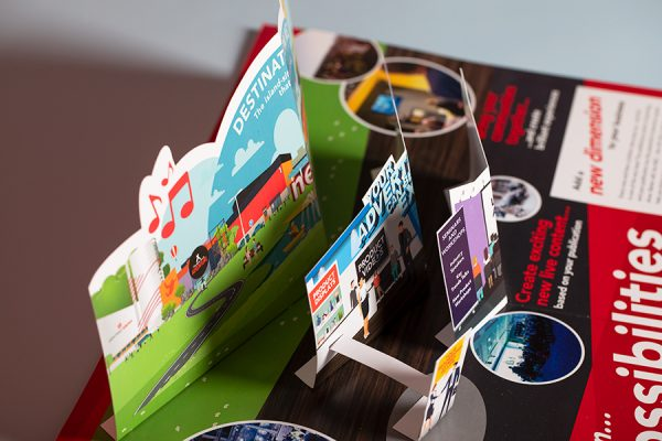 NEC 3D pop up cards UK for direct mail with Newton Print