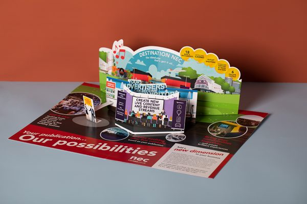 Custom die cut NEC 3D pop up direct mailer