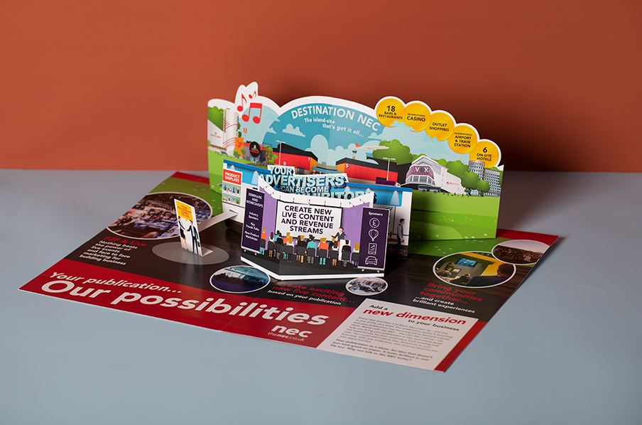 NEC die cut pop-up mailer