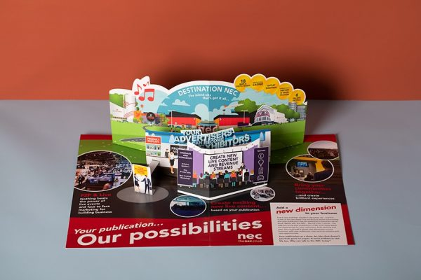 NEC 3D pop-up card for direct mail campaign