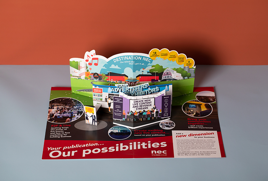 NEC 3D pop up mailers and cards