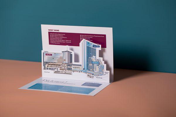 Custom 3D pop up card for Hilton Hotels