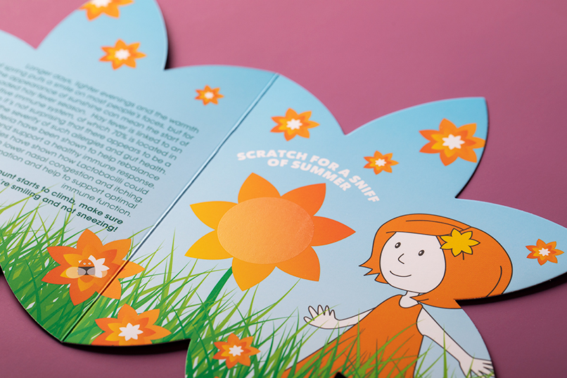 Scratch and sniff fragrance die cut direct mail printing