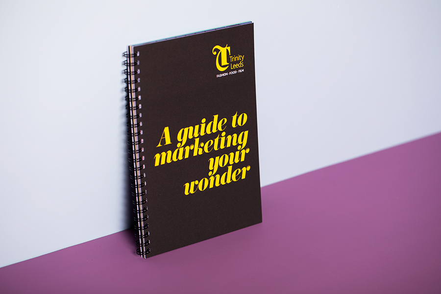 Trinity Leeds brochure with black wiro binding