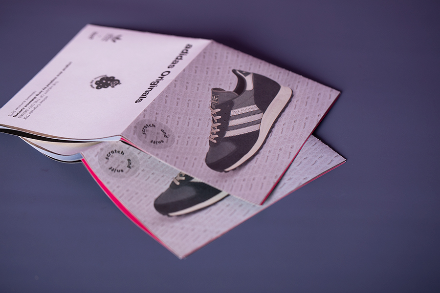 Adidas scratch and sniff scented zines