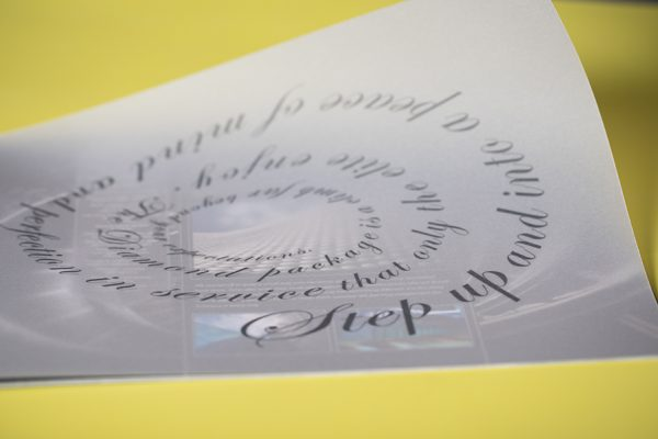 Service brochure printing with spot UV, foil block, translucent paper, spot metallic Pantone colours