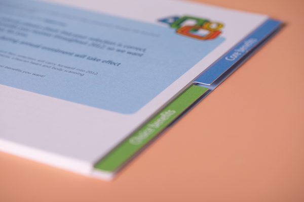 Index tabbed brochure printing