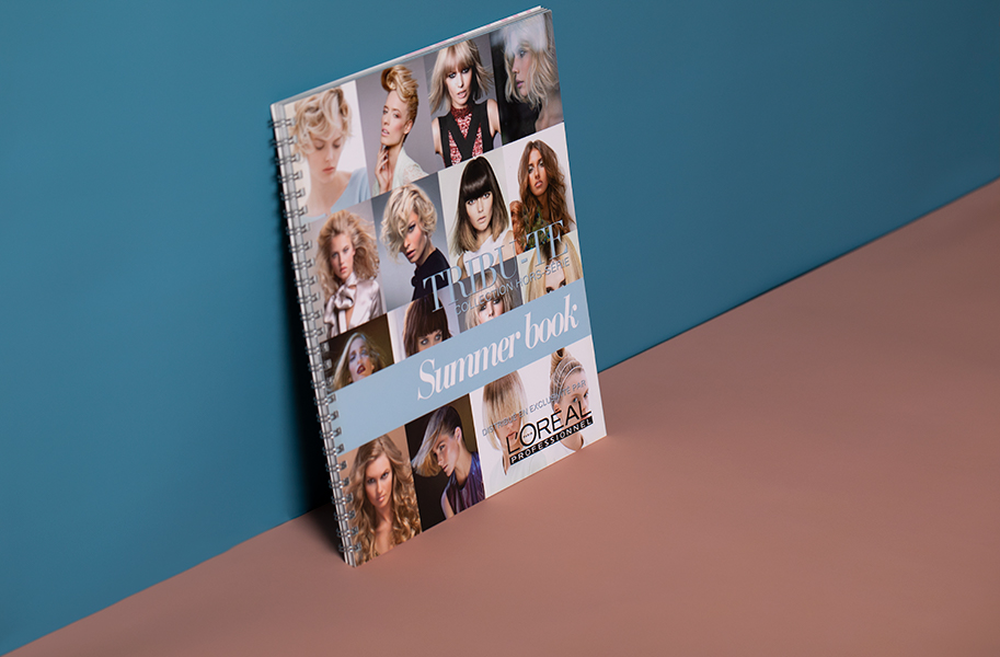 L'oreal look book with silver wiro binding