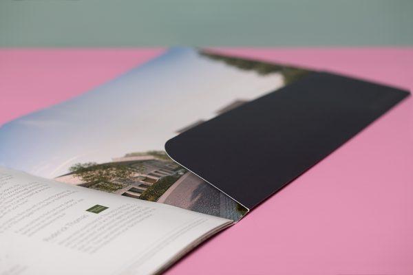 Stitched pocket brochures