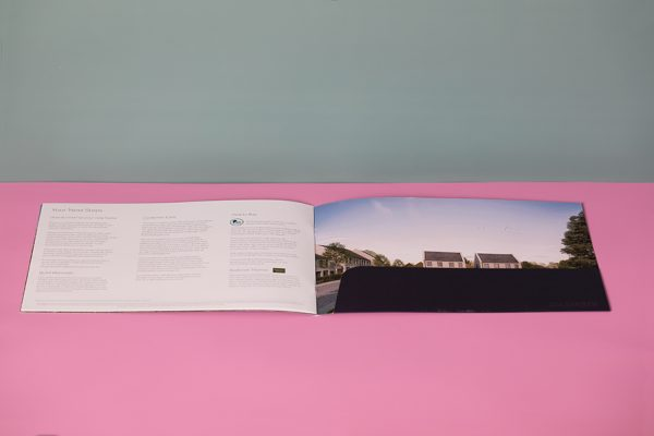 Property marketing brochure - A4 landscape folded brochures with pocket