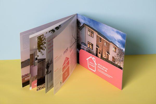 Stitched A4 landscape custom printed pocket brochure