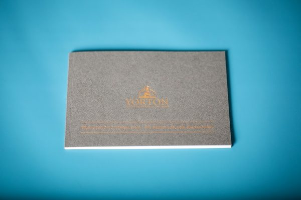 Yorton brochure with Gmung embossed cover and bronze foil printing