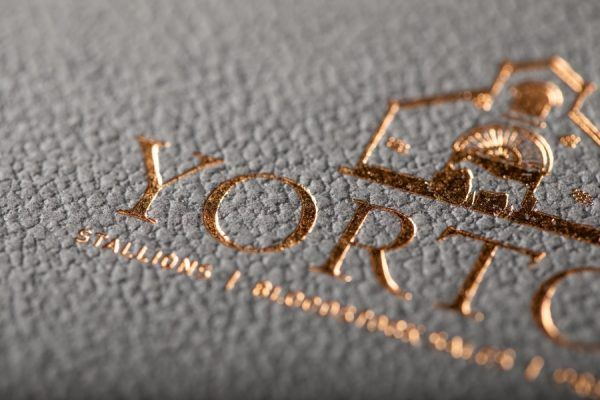 Yorton Bronze Foil Blocked Perfect Bound Brochure Printing with Gmund Embossed cover