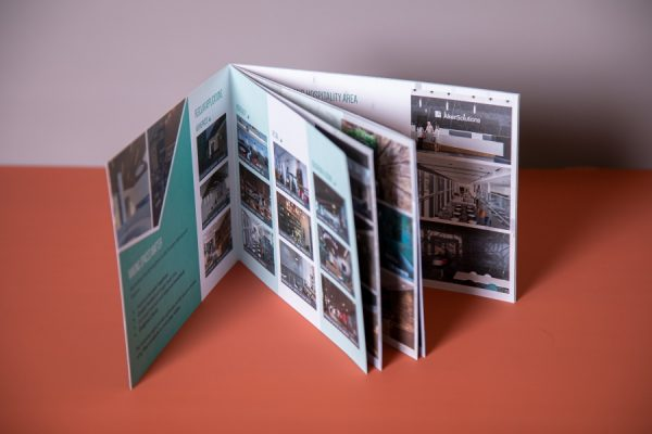 Interior Design Brochure with soft-touch laminated cover and short-edge saddle-stitched spine by Newton Print