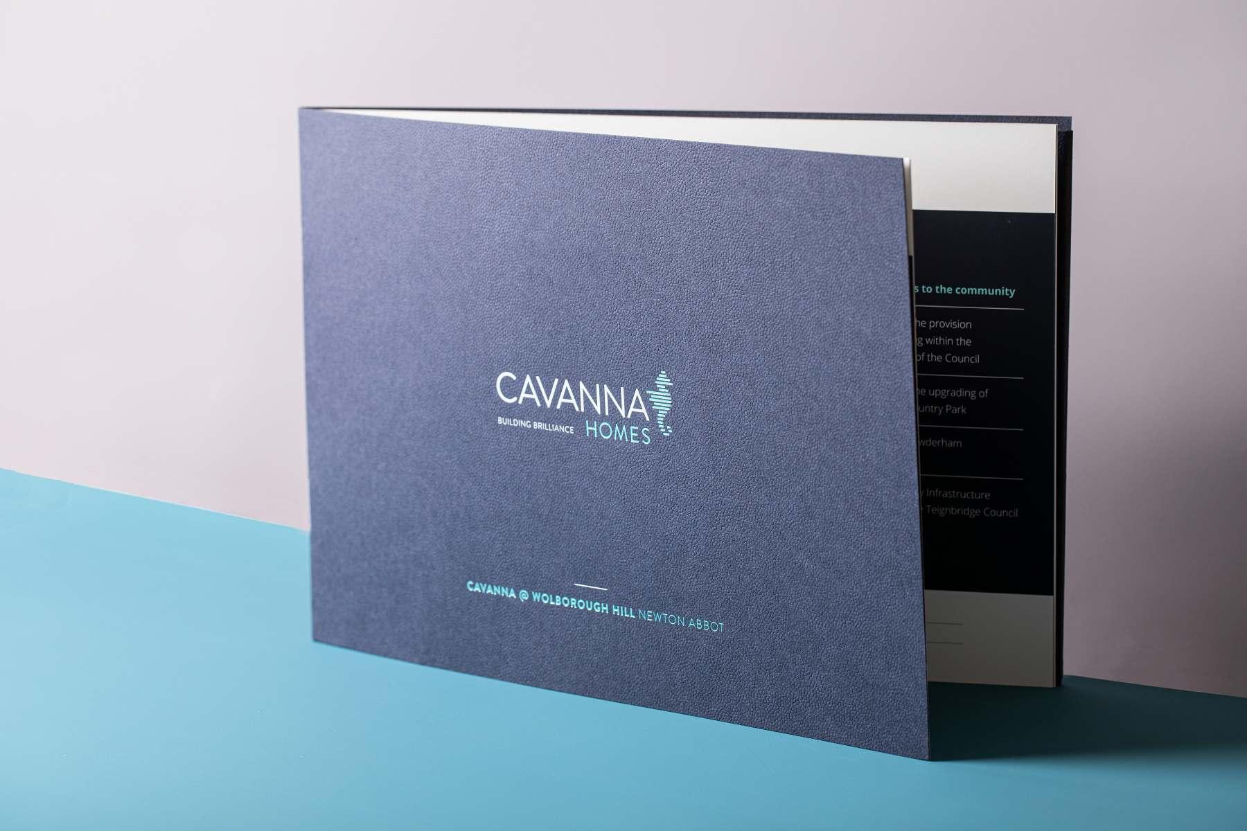 Cavanna Homes saddle stitched pocket brochure