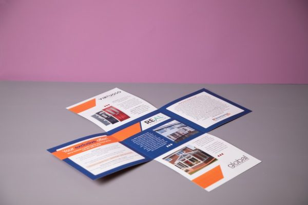 Creative folding brochure design | Maltese Cross die-cut leaflet