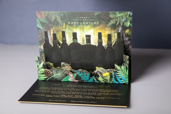 Pop-up 3D invitation with gold foiling for Diageo | Newton Print