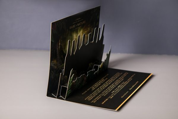 Custom 3D pop up invitation card with gold foiling and die cutting for Diageo | Newton Print