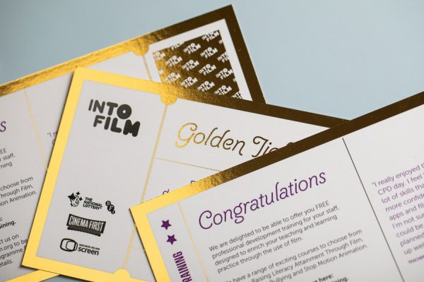 IntoFilm Golden Tickets with Digital Foil Printing from Newton Print