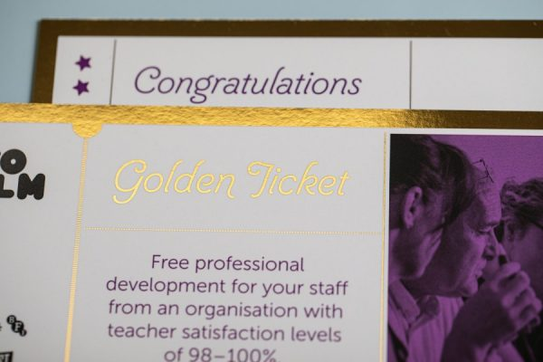 IntoFilm Golden Tickets with Digital Foiling from Newton Print