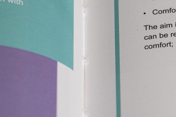 Thread sewn perfect bound brochure for Careflex - Newton Print Project of the Month