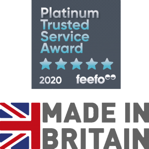 eefo Platinum Award and Made in Britain logo Newton Print v3