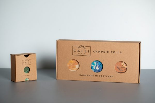 Calli Soaps Short Run Packaging - Kraft Retail Tuck End Boxes with Newton Print