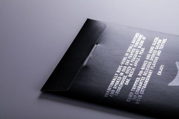 Luxury smoked salmon packaging printing with Newton Print