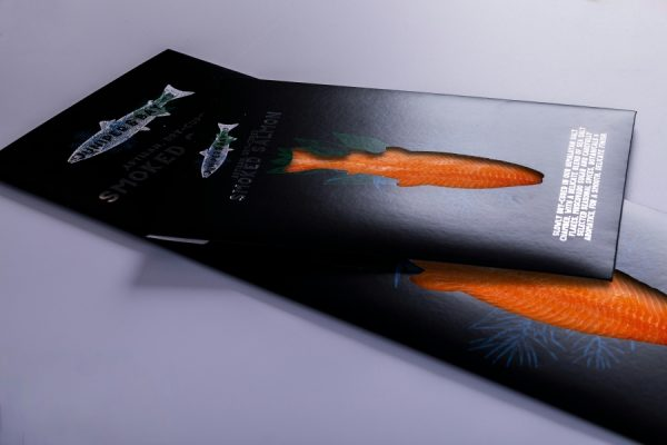 Juniper and Bay smoked salmon wallets packaging with Newton Print