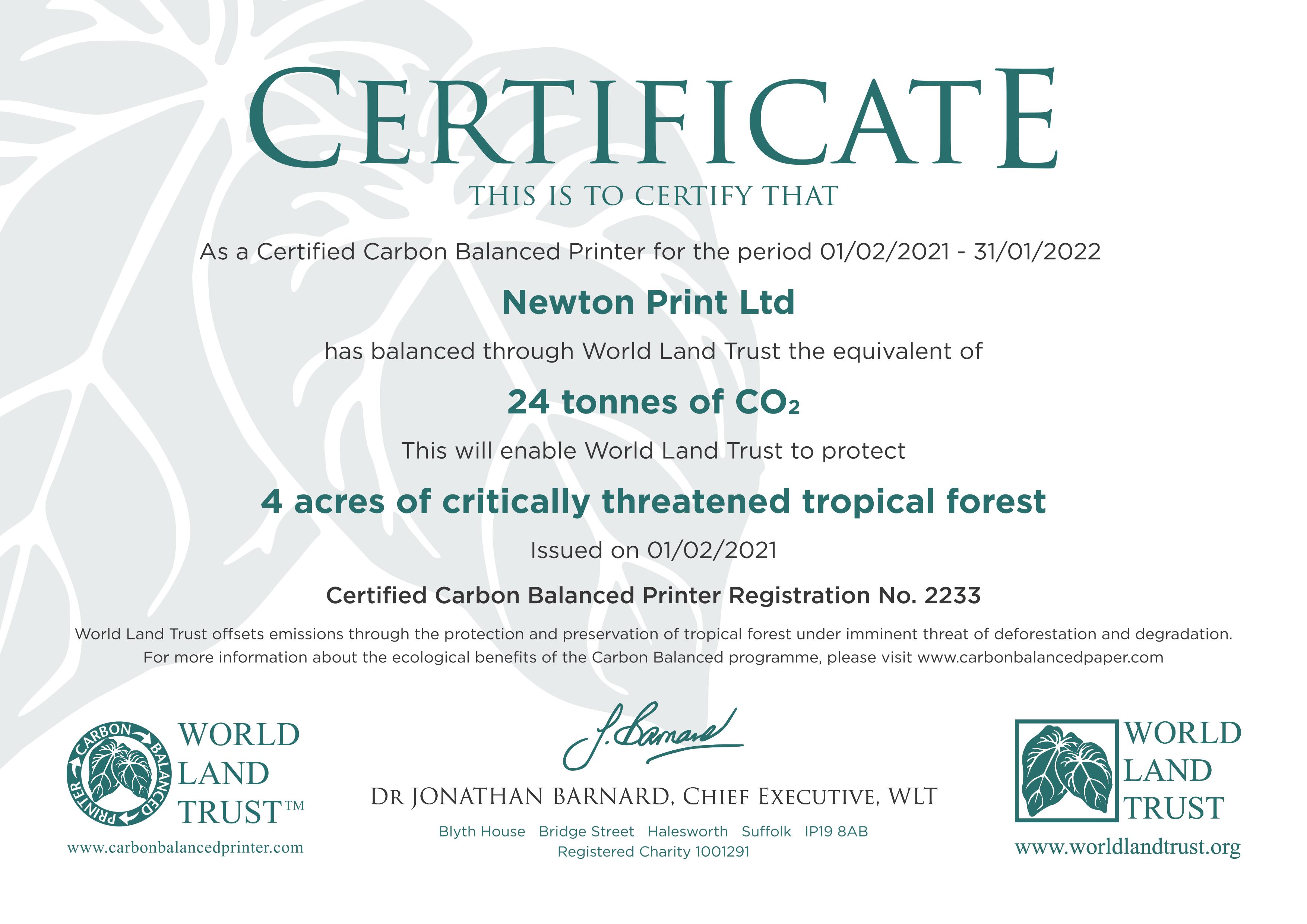 Carbon Balanced Printing Company and Paper - Newton Print
