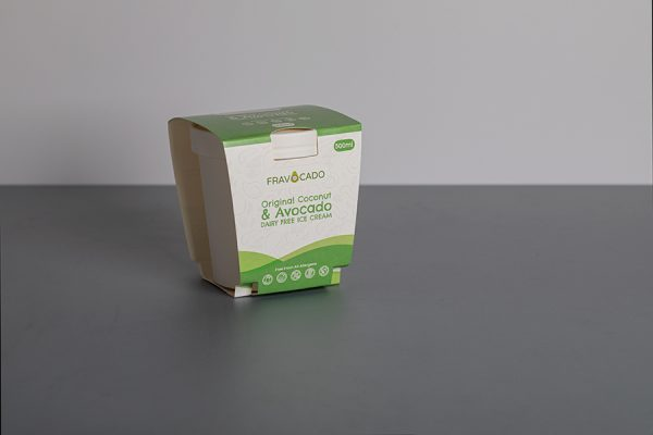 Fravocado ice cream tub sleeve printing with Newton Print