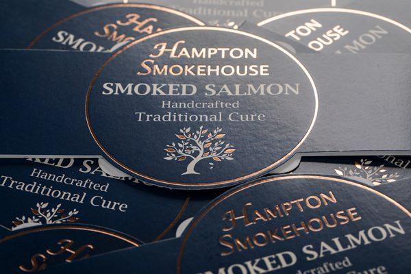 Hampton Smokehouse Smoked Salmon Belly Band Packaging Sleeves with Newton Print