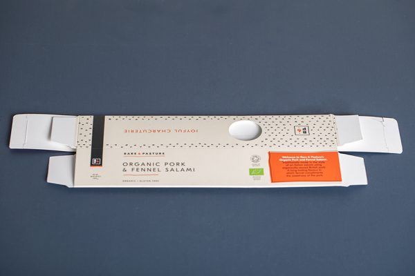Rare and Pasture Salami Packaging with Newton Print