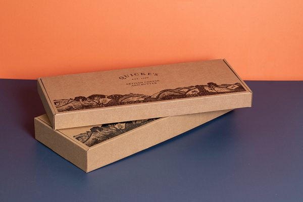 Printed Quickes Artisan Cheese Packaging for Delivery with Newton Print