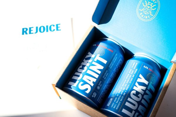 Lucky Saint printed mailer box with beer cans